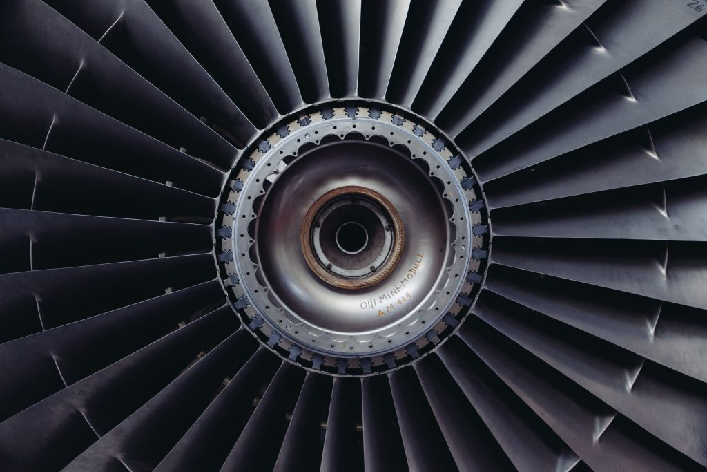 Aircraft engine turbine blades, that are maintained using SAM Aviation Maintenance Software.