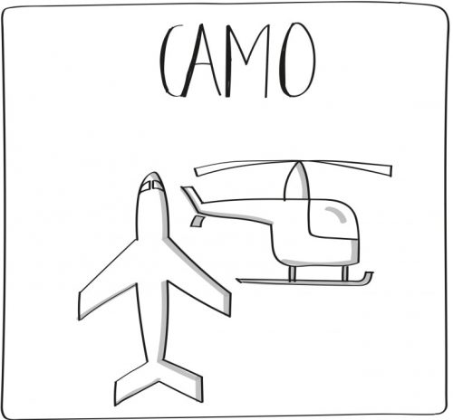 CAMO graphic depicting airplane and helicopter