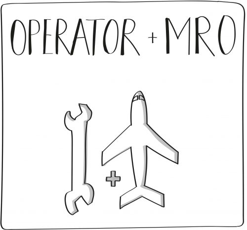 Operator and MRO graphic that depicts wrench plus aircraft